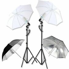 "2 x 135W Lamp Bulb Photo Studio 33"" Umbrella Light Stand Continuous Lighting Kit"
