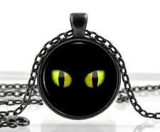 Halloween Black Cat Eyes Charm - Necklace Pendant - Fancy Dress Costume Gift