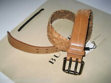 Burberry tan leather belt London Woven Balkerne 35mm Double Prong Buckle NWT
