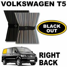 BLACK OUT - VW T5 Curtain Kit  - Right Back SWB VWT5 Campervan Curtains