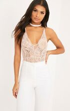 Womens Ladies Strappy Plunge V Neck Full Lace Cross Back Bodysuit Leotard Top UK