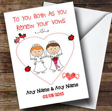 Doodle Gay Lesbian Couple Red Head Brunette Personalised Renewal Of Vows Card