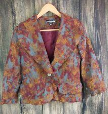 Credibility by Sheri Drobnick Size 6 Brown & Copper Floral Career Blazer 7-1233
