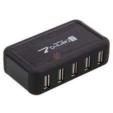 New 7 Ports Hi-Speed USB 2.0 Hub +Power Adapter for PC Laptop computer Black CA