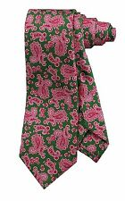 NWT! KITON NAPOLI GREEN AND PINK PAISLEY DESIGN 100% SILK NECK TIE KI27