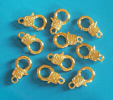 10 (ten) large, gold plated, patterned trigger clasps - 23mm, jewellery findings