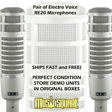 TWO Electro-Voice RE20 Broadcast Mics EV RE-20 PAIR MEGA DEAL-GREAT STUDIO SOUND