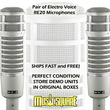 TWO Electro Voice RE20 Broadcast Mics EV RE-20 PAIR w/ FREE SAME DAY SHIPPING!