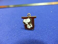 vtg snoopy pendant charm letter initial U red 1970s peanuts schulz cartoon  #