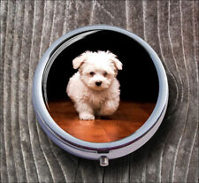DOG BREAD WHITE FLUFFY PUPPY PILL BOX ROUND METAL -sde4Z