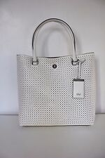Karen Millen White Perforated Leather Large Shoulder Hand Shopper Tote Bag GV082