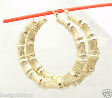 "2"" 50mm Large Graduated Bamboo Hoop Earrings REAL 10K Yellow Gold 6.5gr"