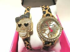 BETSY JOHNSON CRYSTAL SKULL WATCH SET, WITH LEOPARD LEATHER, BJ00536-29 NWT/BOX