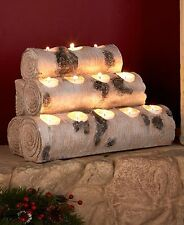 Faux White Birch Firewood Wood Logs Tealight Candle Holders Fireplace