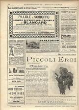 Stampa antica pubblicità PICCOLI EROI PILLOLE BLANCARD ecc. 1895 Antique print