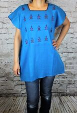 Aqua 100% Gauze Cotton Mexican Tunic Telar Hand loom Blouse Top Large