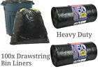 100 SUPER STRONG BLACK REFUSE SACKS DRAWSTRING RUBBISH BAG BIN LINERS DRAWSTRING
