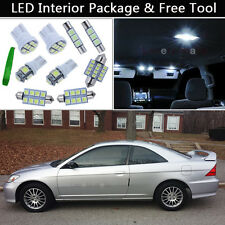 7PCS White LED Interior Lights Package kit Fit Honda Civic Coupe & Sedan J1