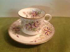 Antique 1909-33 BALMORAL CHINA R&D England CUP/SAUCER #3259 Gold/ Purple/Green