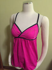 Lululemon Rehearsal Pink Gray Criss Cross X Back Cinch Hem Top Tank 2 Excellent