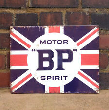BP Motor Spirit Union Jack Tin Plate Wall Sign - Car/Garage/Shed Christmas/Xmas
