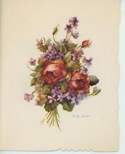 VINTAGE RED ROSES GARDEN FLOWERS BUDS PURPLE VIOLETS CARD LITHOGRAPH PRINT