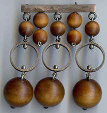 AARIKKA FINLAND VINTAGE SILVER & WOOD BEADS DANGLE PIN