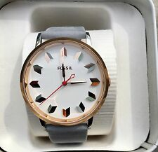 FOSSIL Women's Vintage Muse Gray Leather REFURBISHED Watch w/TIN ES4057