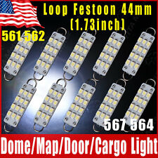 "10 PIECES White Festoon 44mm 12-SMD Rigid Loop 1.73"" LED Light Bulbs 561 562 567"