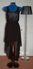 NEW Sz 10 Black Dip Hem Chiffon Skirt Lined Mini Maxi Dress Sequin bodice
