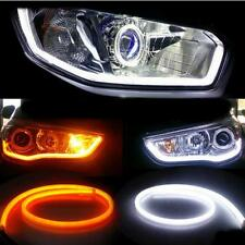 30CM LED White&Amber Car DRL Daytime Running Lamp Strip Light Flexible Soft Tube