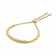 Michael Kors MKJ5592 710 Gold Tone Plaque Adjustable Beaded Bracelet Jewelry