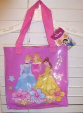 DISNEY 3 PRINCESS SPARKLE TOTE PURSE~NEW~PINK HAND BAG GIRLS ACCESORY PURSE