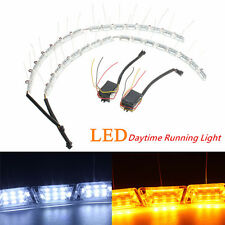 2x LED Flexible Headlight Strip Light Tear Eye Turn Switchback Lamp White/Amber