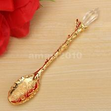 Retro Luxury Palace Style Coffee Tea Spoon Crystal Head Scoop Flatware Gold