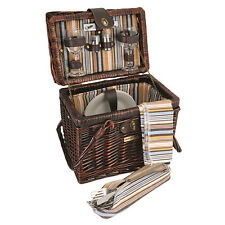 Willow Picnic Basket Set  for 2  15 pcs. Brown Brand New