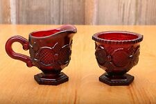 AVON Cream And Sugar 1876 Cape Cod Ruby Red Glass Vintage