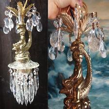 Cherub serpent hanging Lamp Chandelier brass plate fish Dolphin Vintage Spelter
