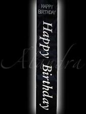 Happy Birthday Party Black & Silver Sash for Birthday Girl with diamantes