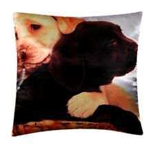 Dog Animal Print Silk Satin Gorgeous Puppies Cushion Cover Pillow For Sofa Bed