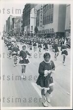 1963 Girls n Santa Suits Twirl Batons Christmas Parade Cleveland OH Press Photo