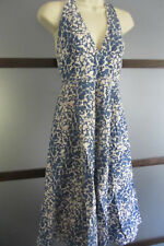 J.CREW Dress 4 Blue White Halter Cotton Empire Textuer Sundress A-line