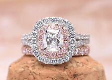 1ct Engagement Ring With Band 10k White Gold Pink Cushion Double Halo Set Solid*