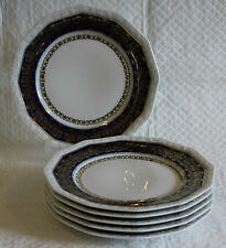 Set of 6 Rosenthal Gilded Maria Cobalt Blue - 20cm Lunch Plates