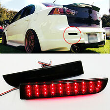 2x LED Bumper Reflector Black Smoked Lens Tail Brake Light for Mitsubishi Lancer