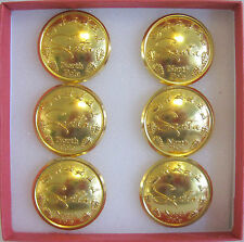 "PROFESSIONAL 1 1/8"" REMOVABLE 6 PACK OF 24K GOLD ""SANTA  BUTTON NORTH POLE"" ***"