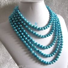 """100"""" 7-9mm Sky Blue Freshwater Pearl Necklace"""