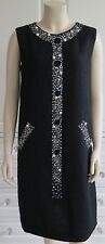 Moschino Cheap and Chic Diamante Perla Vestido Adornado Lentejuelas Negro-UK10-12