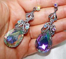 AB Teardrop Chandelier Earrings Crystal Rhinestone Crystal Bridal Pageant 2.5