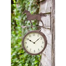Metal 2 Sided Outdoor Wall Clock and Thermometer with Horse Outdoor Safe